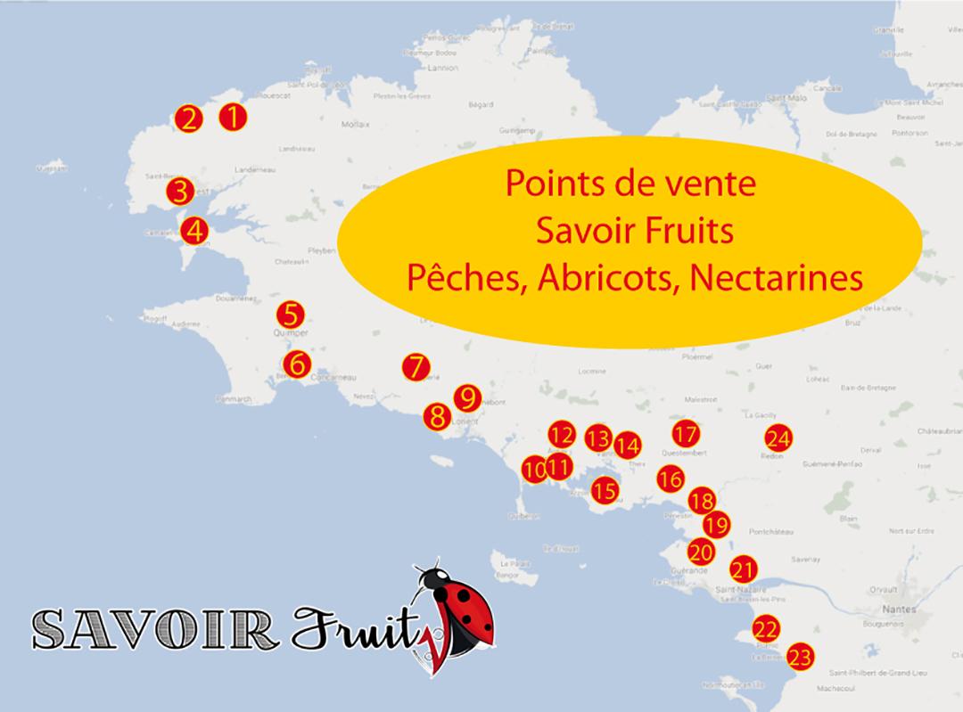 Pêches, nectarines, abricots en Bretagne